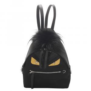 Fendi Black Leather Mini Monster Backpack