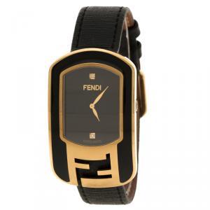 Fendi Black Gold Plated Steel Diamond Chameleon Women's Wristwatch 29 mm