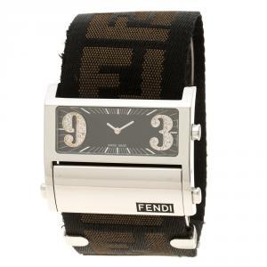 Fendi Black Stainless Steel Diamond Zip Code 1120G Women's Wristwatch 40 mm