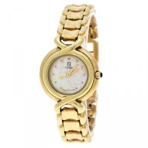 Fendi Yellow Mother of Pearl Gold Tone 700L Women's Wristwatch 25 mm