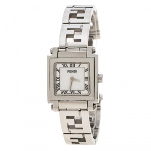 Fendi Silver White Stainless Steel Quadro 6000L Women's Wristwatch 25 mm