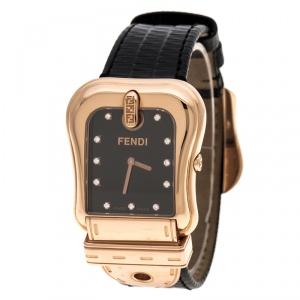 Fendi Black Gold Plated Stainless Steel 3800G Women's Wristwatch 33 mm