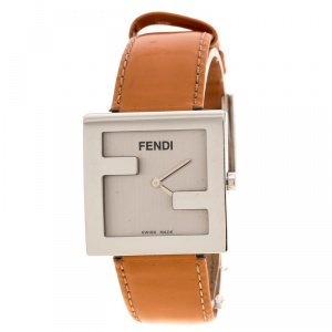 Fendi Silver Grey Stainless Steel 4000L Logo Square Women's Wristwatch 31 mm
