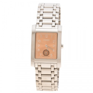 Fendi Metallic Pink Stainless Steel 7000G Men's Wristwatch 27 mm