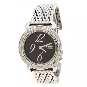 Fendi Brown Stainless Steel Selleria 8100M Women's Wristwatch 37 mm