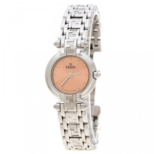 Fendi Metallic Pink Stainless Steel 750L Women's Wristwatch 25 mm