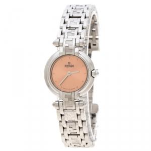 Fendi Metallic Pink Stainless Steel 750L Women's Wristwatch 25 mm