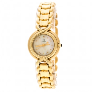 Fendi Yellow Mother of Pearl Gold Tone 700L Women's Wristwatch 25 mm