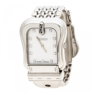 Fendi White Mother of Pearl Stainless Steel And Diamond B. Fendi 3800G Women's Wristwatch 33mm