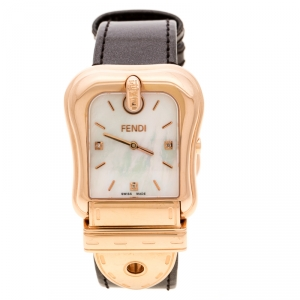 Fendi White Mother of Pearl Rose Gold Plated Stainless Steel 3800G Women's Wristwatch 33 mm