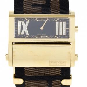 Fendi Black Zip Code Gold Plated Steel Womens Wristwatch 30 MM
