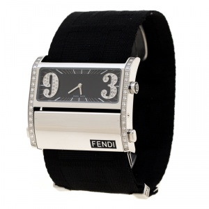 Fendi Black Stainless Steel Diamond Zip Code 1120G Women's Wristwatch 46 mm