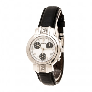 Fendi White Stainless Steel 4500L Chronograph Women's Wristwatch 32 mm