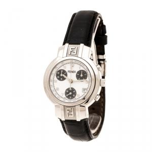 Fendi White Stainless Steel 4500L Chronograph Women's Wristwatch 32 mm