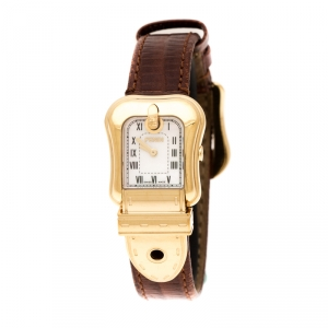Fendi White Mother of Pearl Gold Plated Stainless Steel B.Fendi 3800L Women's Wristwatch 23 mm