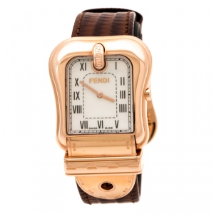 Fendi White Mother of Pearl Rose Gold Plated Stainless Steel B.Fendi 3800G Women's Wristwatch 33 mm