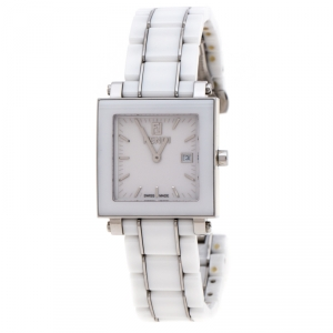 Fendi White Ceramic Stainless Steel Quadro 6200G Unisex Wristwatch 30 mm