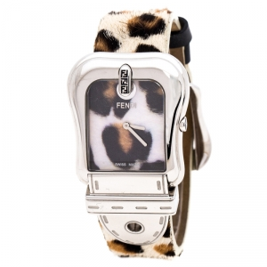 Fendi Leopard Print Stainless Steel B.Fendi 3800G Women's Wristwatch 33 mm