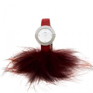 ساعة يد نسائية فندي My Way 35000S جلد ستانلس ستيل بيضاء 28 مم