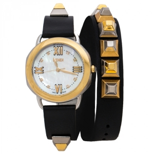 Fendi Mother of Pearl Two-Tone Stainless Steel Studded Leather Selleria 80200M Women's Wristwatch 36 mm