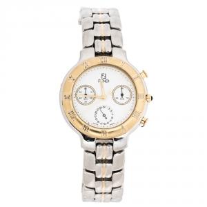 Fendi White Two-Tone Stainless Steel 950G Chronograph Men's Wristwatch 37 mm
