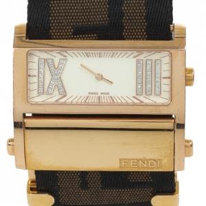 Fendi Diamonds and Gold Fittings Zip Code Womens Wristwatch 40 MM