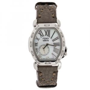 ساعة يد نسائية فندي سيلريا 8400م ألماس ستانلس ستيل صدف 34 مم