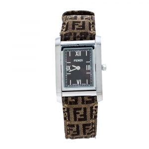 Fendi Brown Stainless Steel Canvas 7600M Women's Wristwatch 27 mm