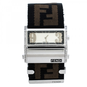 Fendi Cream Stainless Steel Canvas Diamond Zip Code 1120G Women's Wristwatch 46MM