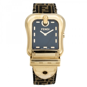 Fendi Black Gold Plated Stainless Steel Canvas B.Fendi 3800G Women's Wristwatch 33 mm