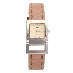 Fendi Creme Stainless Steel Leather 5200L Quartz Women's Wristwatch 23MM