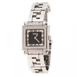 Fendi Black Stainless Steel Quadro Women's Wristwatch 25MM