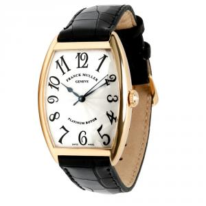 Franck Muller Silver 18K Yellow Gold and Alligator Leather Cintree Curvex 2852 Women's Wristwatch 31MM