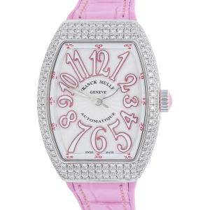 Franck Muller Silver Diamonds Stainless Steel Vanguard V SC AT AC FO D RS Women's Wristwatch 32 x 42 MM