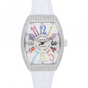 Franck Muller Silver Diamonds Stainless Steel Vanguard V SC AT AC FO COL D BC Women's Wristwatch 32 x 42 MM