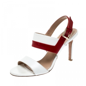 Fratelli Rossetti White/Red Leather Open Toe Buckle Slingback Sandals Size 38.5