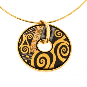 Frey Wille Hommage À Gustav Klimt Fire Enamel Gold Plated Luna Pendant Necklace