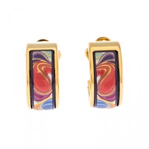 Frey Wille Floral Symphony Fire Enamel Gold Plated Hoop Earrings