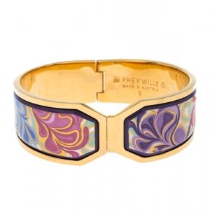 Frey Wille Floral Symphony Fire Enamel Gold Plated Contessa Clasp Bracelet S
