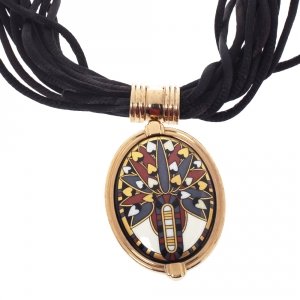 Frey Wille Vintage Multicolor Fire Enamel Gold Plated Oval Pendant