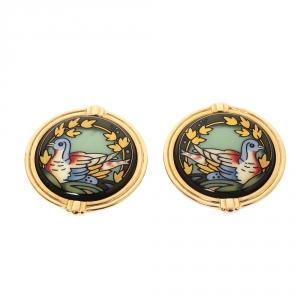 Frey Wille Bird Motif Green Enamel Gold Plated Clip-on Stud Earrings