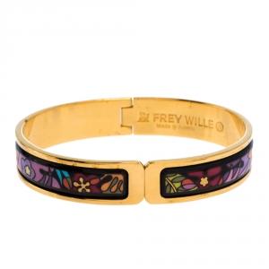 Frey Wille Multicolor Flower Fire Enamel Gold Plated Ballerina Clasp Bracelet