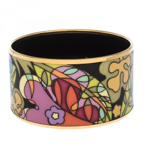 Frey Wille Paradise Moonlight Multicolor Fire Enamel Gold Plated Extra Wide Bangle Bracelet