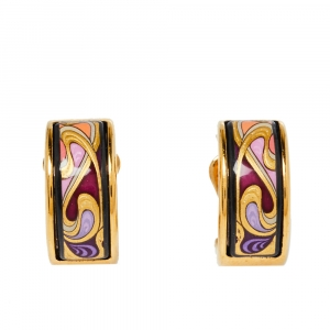 Frey Wille Hommage à Alphonse Mucha Fire Enamel Gold Plated Hoop Earrings