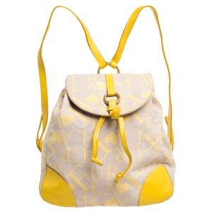حقيبة فورلا كانفاس وجلد أصفر بيج/أصفر بالشعار وجلد بقلاب
