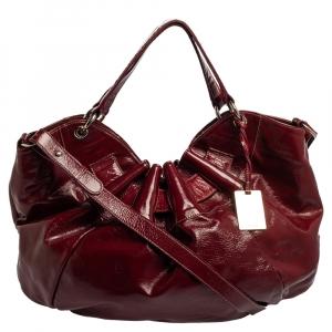 Furla Dark Magenta Patent Leather Ninfea Shoulder Bag