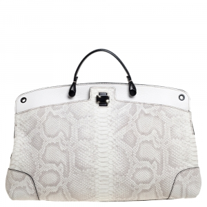 Furla Cream Python Embossed Leather Large Piper Cartella Top Handle Bag