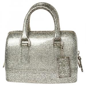 Furla Silver Glitter Rubber Mini Candy Satchel