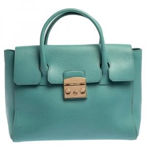 Furla Blue Leather Medium Metropolis Satchel