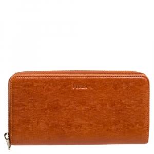 Furla Burnt Orange Leather Zip Around Wallet